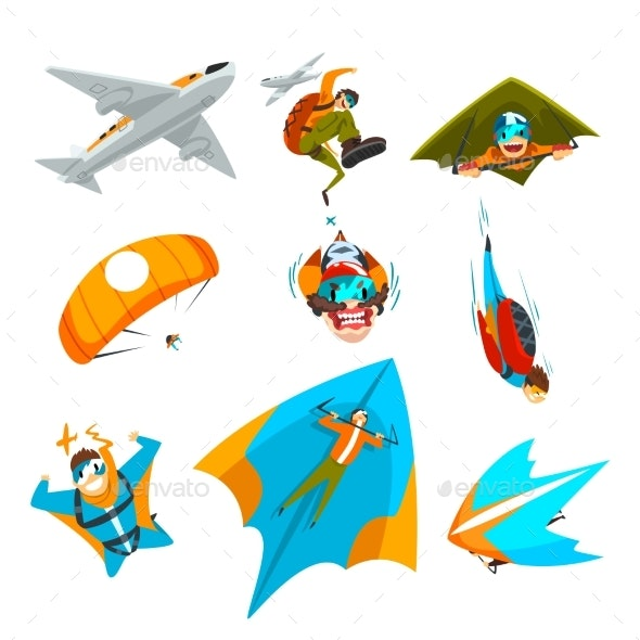 Skydivers Flying with Parachutes and Wingsuits - Sports/Activity Conceptual
