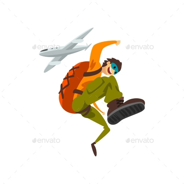 Paraschutist Jumping Out of an Airplane - Sports/Activity Conceptual