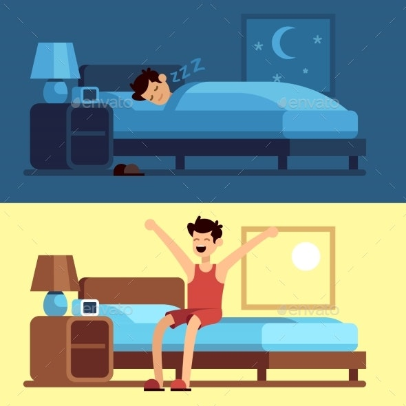 Man Sleeping and Waking Up - People Characters