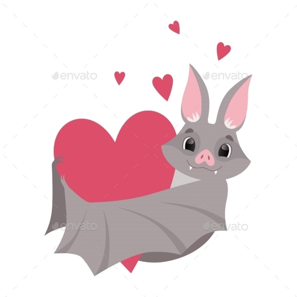 Bat with Red Heart - Animals Characters