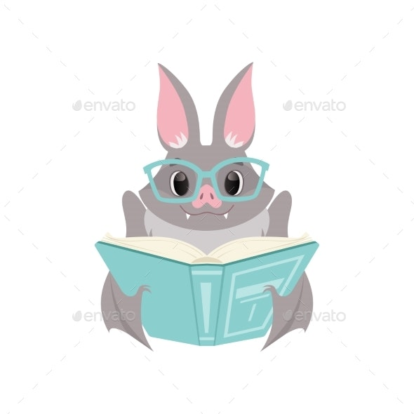 Bat in Glasses Reading a Book - Animals Characters