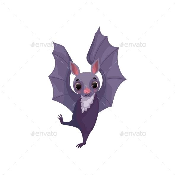 Purple Bat Funny Creature Cartoon Character - Animals Characters