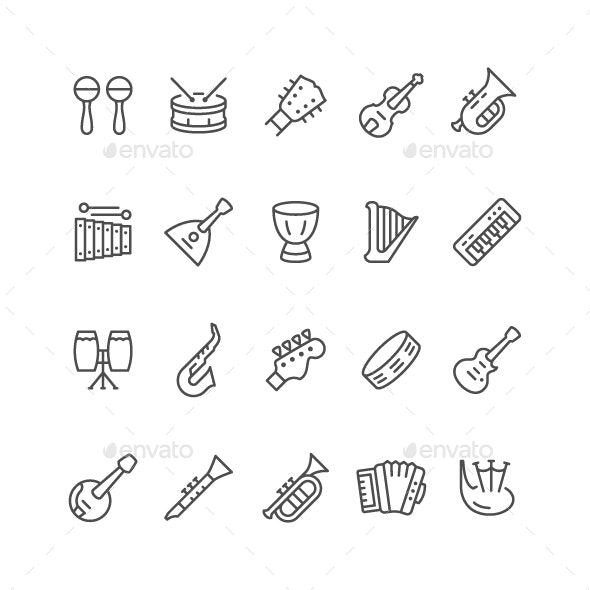 Set Line Icons of Music Instruments - Man-made objects Objects