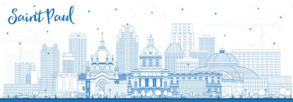 Outline Saint Paul Minnesota City Skyline - Buildings Objects