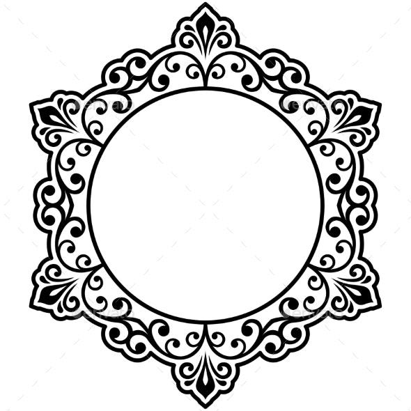 Floral Modern Vector Round Frame - Borders Decorative