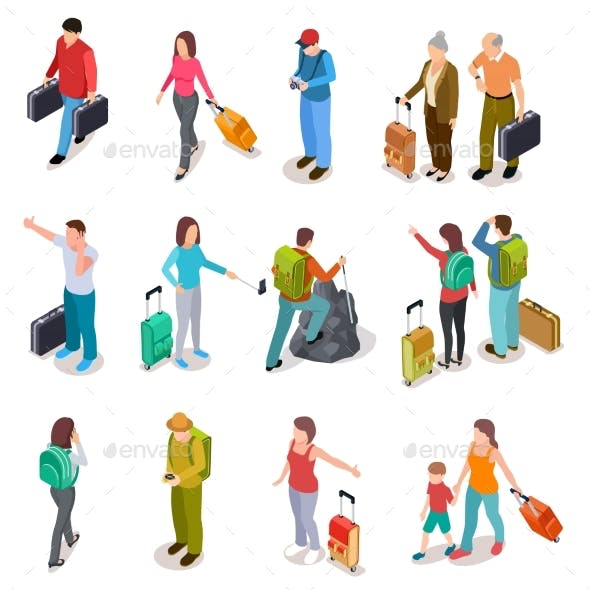 Travel People Isometric Set