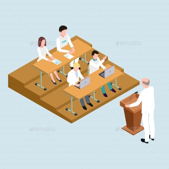 Medical School Students and Proffessor Isometric - Miscellaneous Vectors