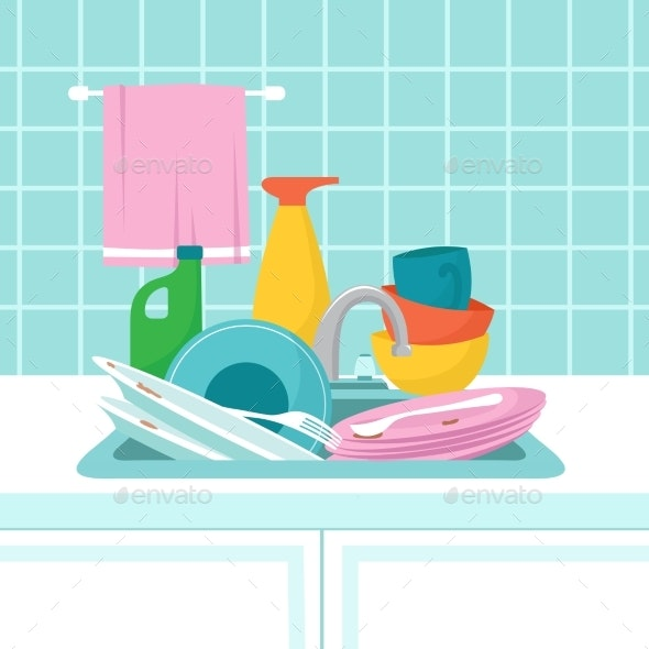 Kitchen Sink with Dirty Plates - Miscellaneous Vectors
