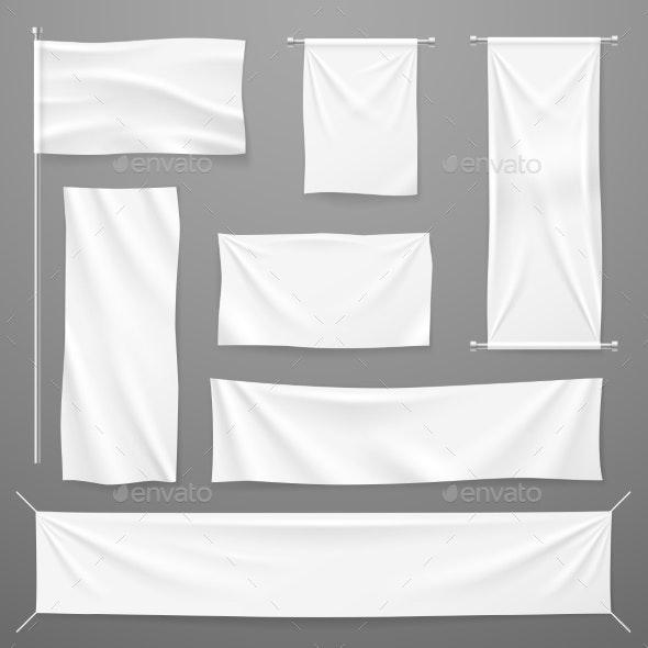 White Textile Advertising Banners - Miscellaneous Vectors