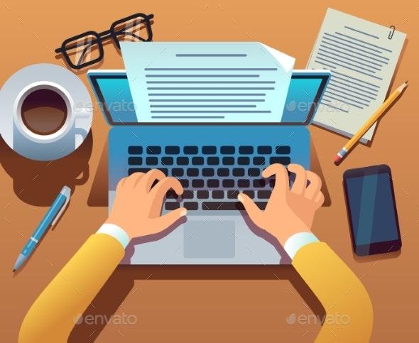 Writer Writes Document - Miscellaneous Conceptual