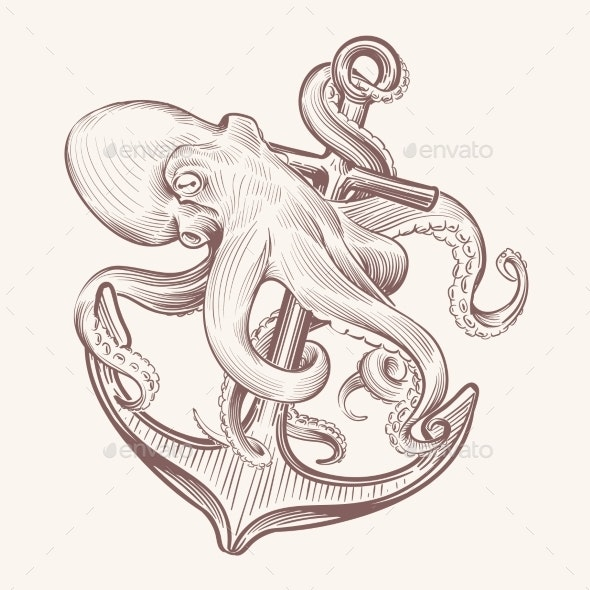 Octopus with Anchor - Miscellaneous Vectors