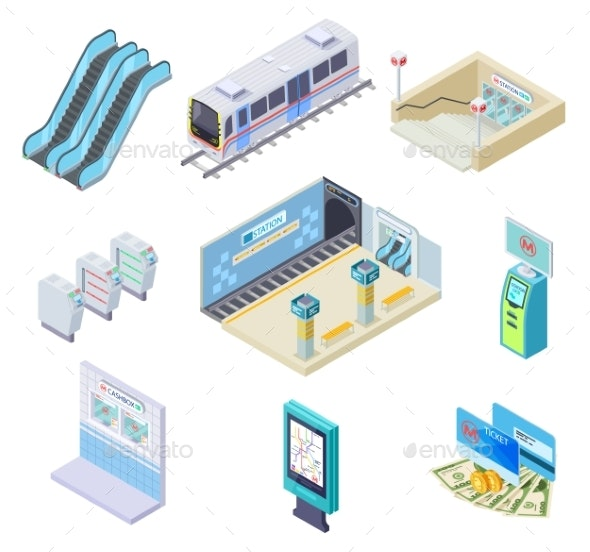 Isometric Metro Elements - Travel Conceptual