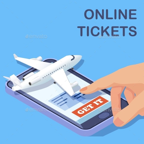 Airline Online Tickets Mobile App Isometric Vector - Travel Conceptual