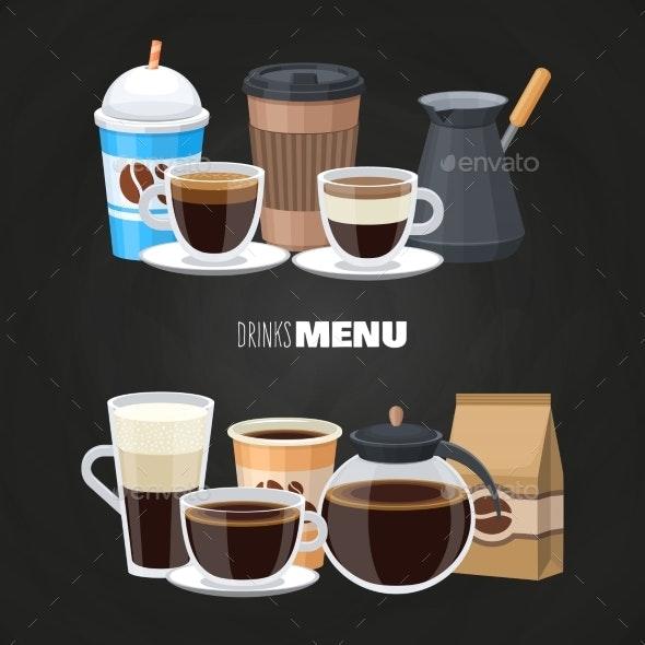 Drinks Menu Elements on Blackboard - Food Objects