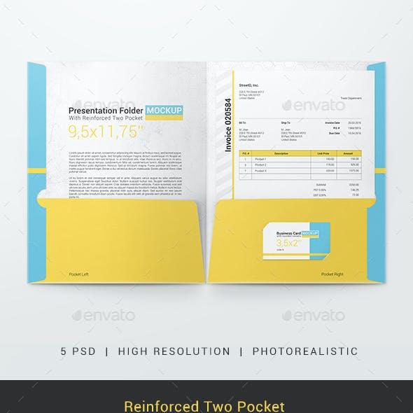 Reinforced Two Pocket Presentation Folder Mockup