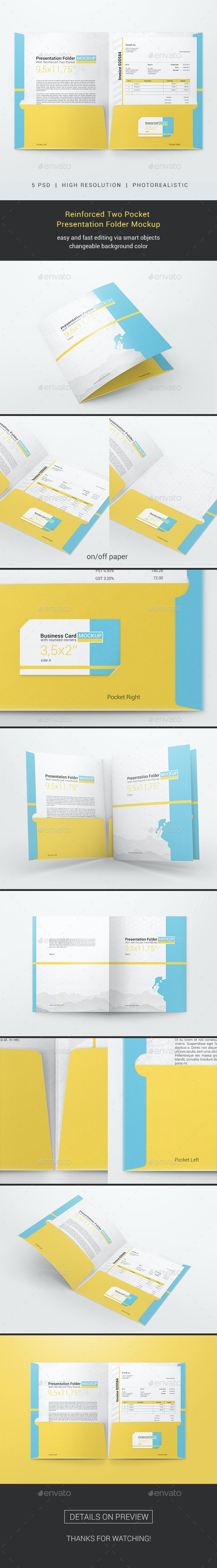 Reinforced Two Pocket Presentation Folder Mockup - Miscellaneous Print