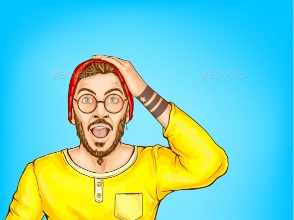 Shocked Hipster Man with Opened Mouth Vector - People Characters