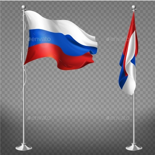 Russia National Tricolor Flag Realistic Vector - Man-made Objects Objects