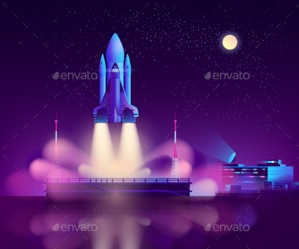 Space Shuttle Launch From Floating Platform Vector - Miscellaneous Vectors