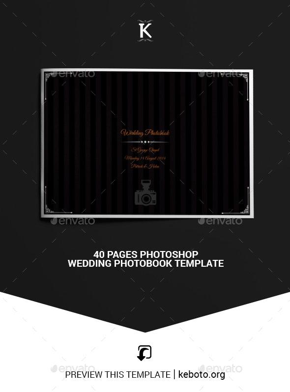 40 Pages Photoshop Wedding Photobook Template - Photo Albums Print Templates