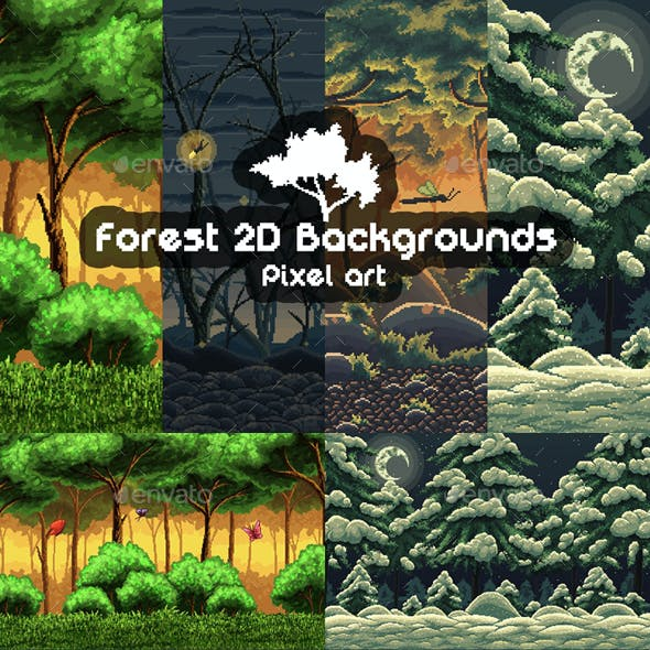 2D Game Forest Backgrounds Pixel Art