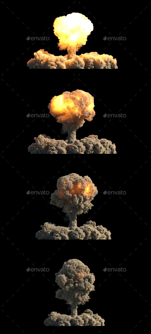 Nuclear Explosion on Black Background - Backgrounds Graphics
