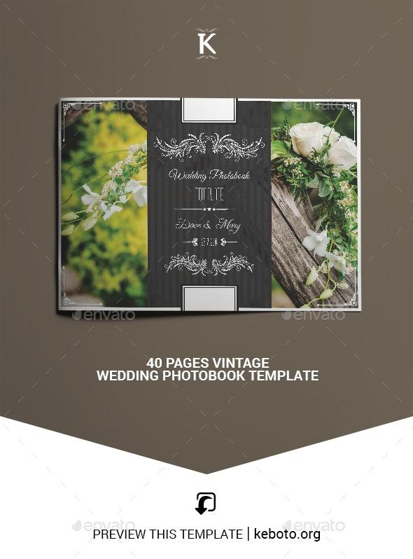 40 Pages Vintage Wedding Photobook Template - Photo Albums Print Templates
