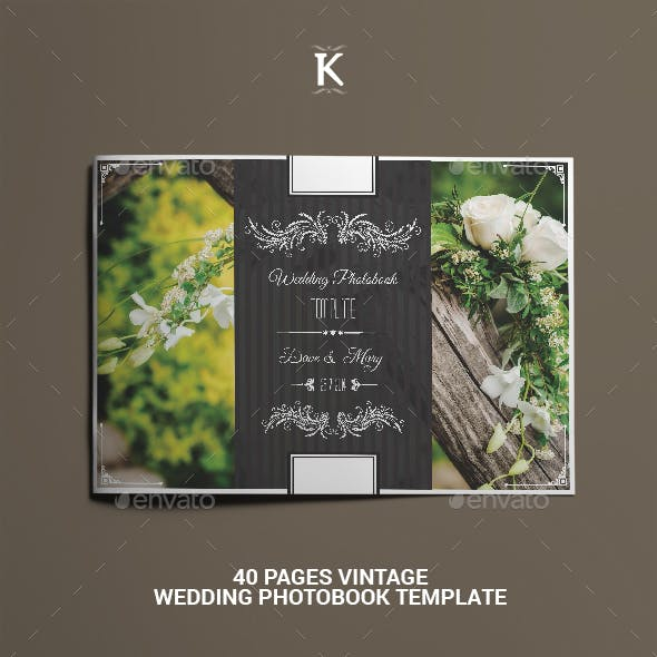 40 Pages Vintage Wedding Photobook Template