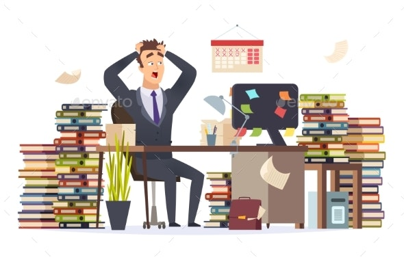 Overworked Businessman - People Characters