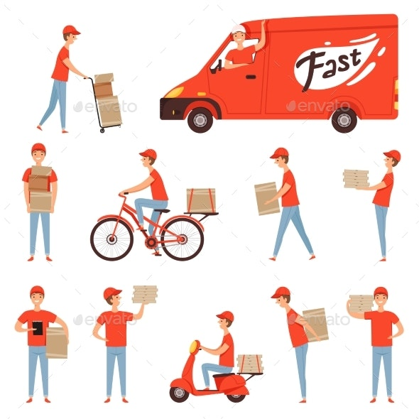 Pizza Delivery Characters - People Characters