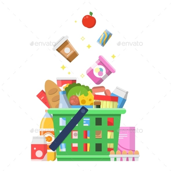 Grocery Basket with Food - Food Objects