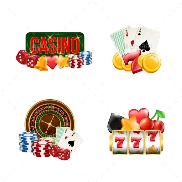 Vector Piles of Realistic Casino Gamble Set