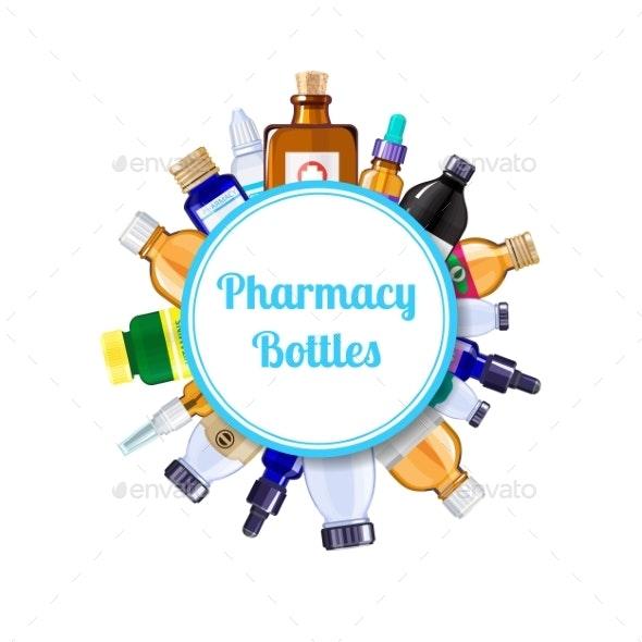 Vector Pharmacy Medicine Bottles Under Circle - Miscellaneous Vectors