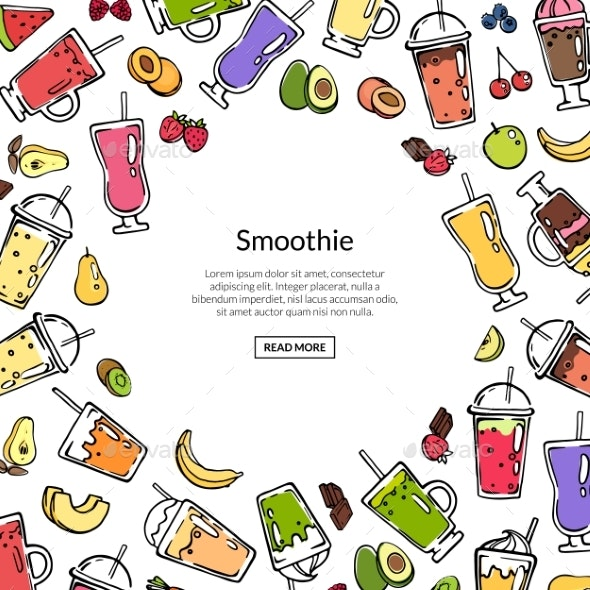 Vector Doodle Colored Smoothie Drink Background - Miscellaneous Vectors