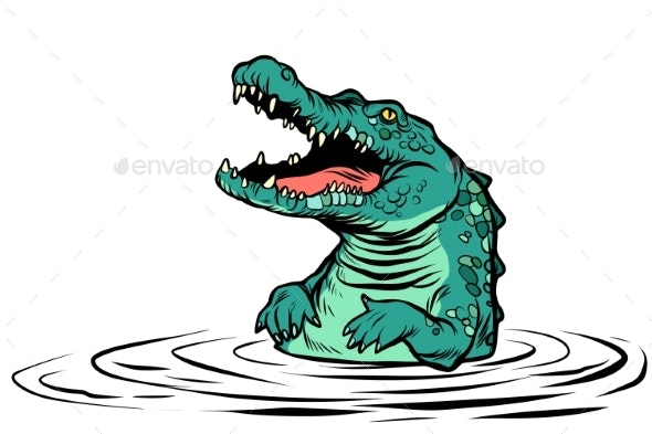Green Crocodile Character Isolate on White - Animals Characters