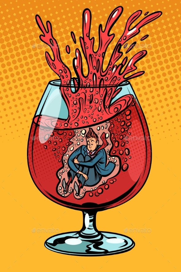 Drunkard Wine Man in a Glass of Alcohol - Food Objects