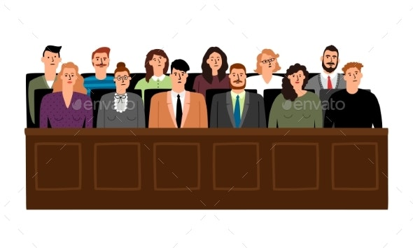 Jury in Court Trial - People Characters