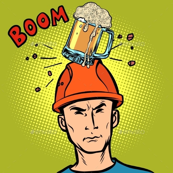 Beer Fell on the Workers Head - Food Objects