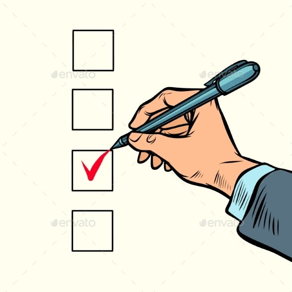 Election Voting Check Mark on the Ballot - Concepts Business
