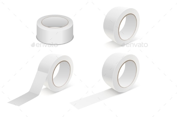 Vector Realistic White Matte Tape Roll Icon Set - Man-made Objects Objects