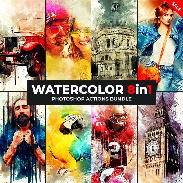 Watercolor - 8in1 Photoshop Actions Bundle