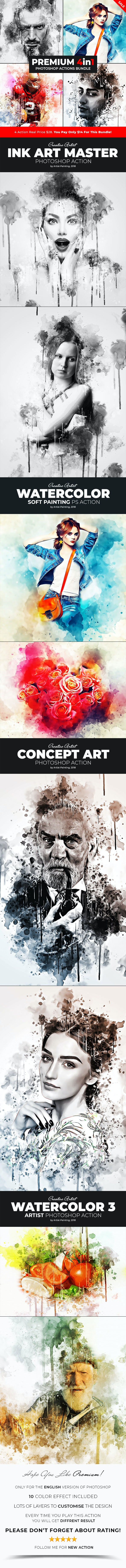 Premium - 4in1 Photoshop Actions Bundle - Photo Effects Actions