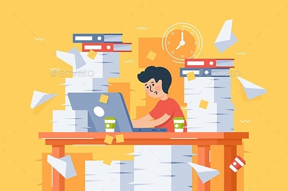 Stressful Busy Young Man Workload at Work - Concepts Business