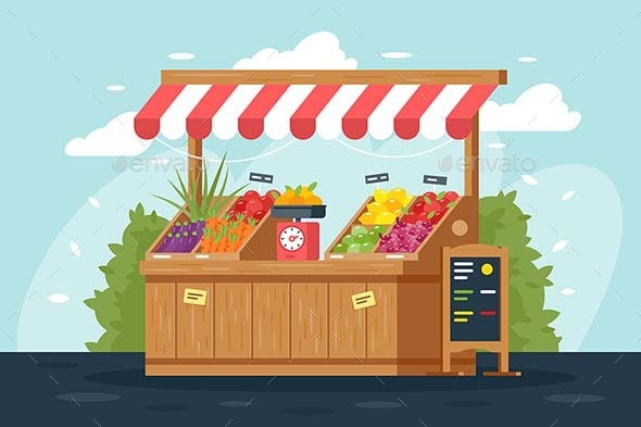Flat Street Vegetable and Fruit Stall with Menu - Food Objects