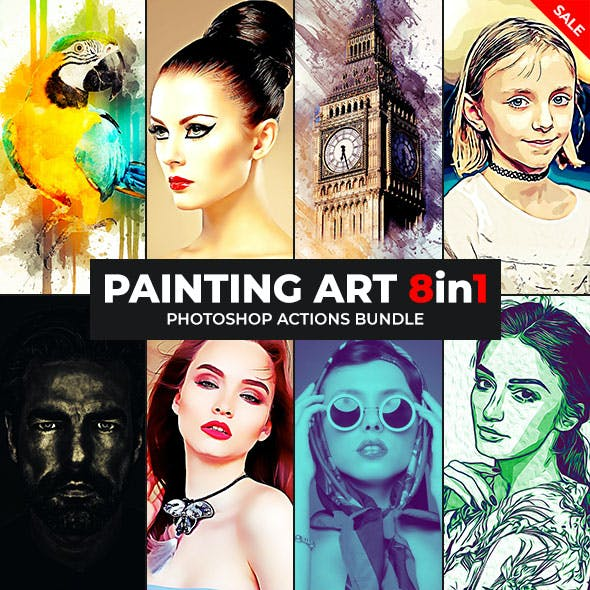 Painting Art - 8in1 Photoshop Actions Bundle