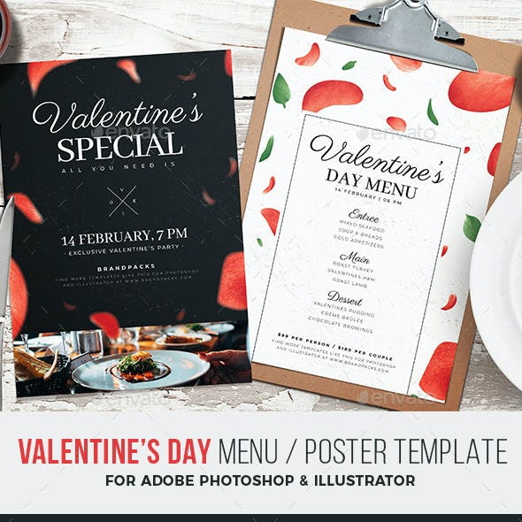 Valentines Day Menu / Poster Template