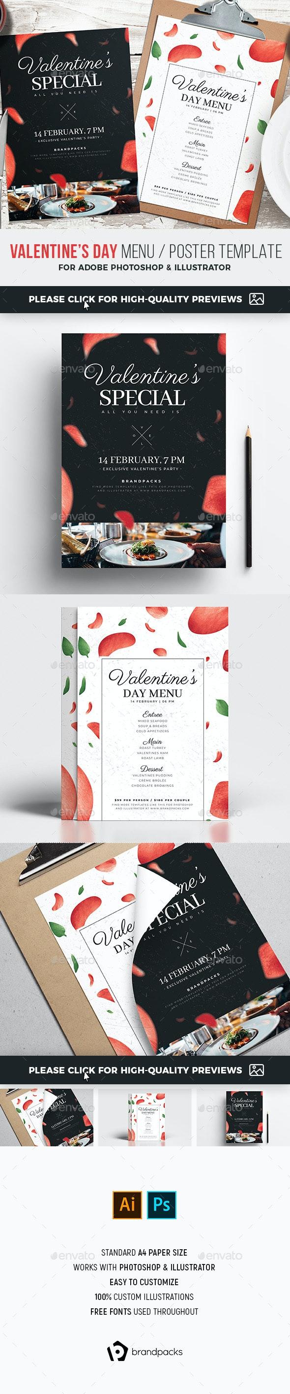 Valentine's Day Menu / Poster Template - Food Menus Print Templates