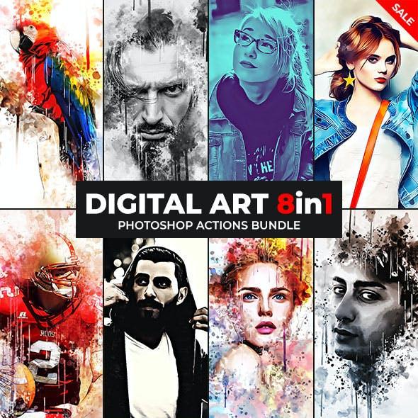 Digital Art - 8in1 Photoshop Actions Bundle
