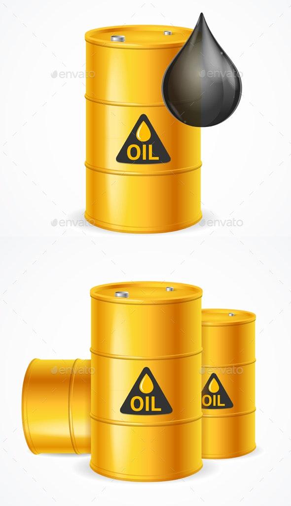 Realistic Detailed Yellow Oil Barrels Set - Miscellaneous Vectors
