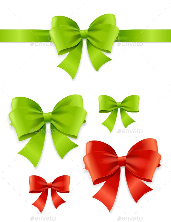 Realistic Detailed Green and Red Bow Set - Decorative Symbols Decorative